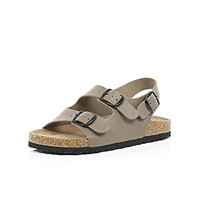 River Island Boys brown double strap flat bed sandals