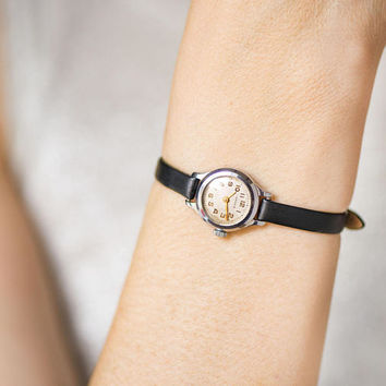 Petite women's watch vintage Seagull. Micro wristwatch for women gift. Classic cocktail watch minimal super small. New premium leather strap