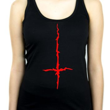Red Thorn Jagged Inverted Cross Women's Racer Back Tank Top Shirt Occult Clothing
