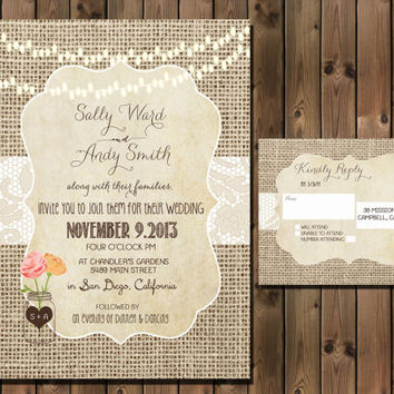 Vintage Rustic Wedding Invitation Package with Flowers and Mason Jar, Simple Casual, Digital File Wedding Package