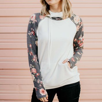 No Stopping Floral Double Hood Pullover
