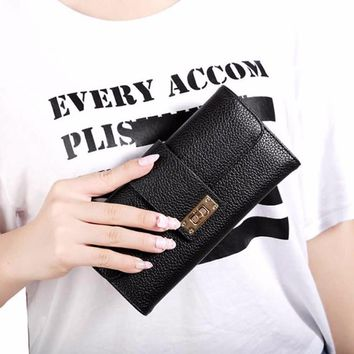2017 Hot New Fashion Women Lady Bifold Wallet Clutch Phone Card Holders Purse Long Handbag Solid Hasp Leather Bags Multifuntion