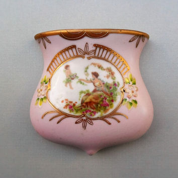 Romantic Wall Pocket Pink Fine Porcelain Vintage Cherub and Lady Wall Pocket Decor Arco Japan Shabby Cottage Chic