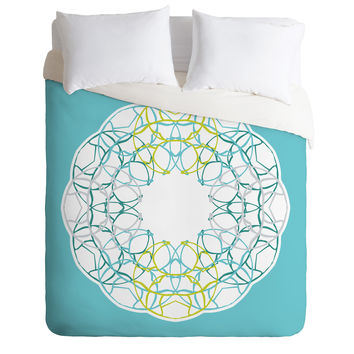 Karen Harris Wired Medallion Green Duvet Cover