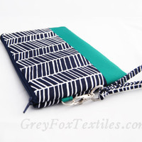 Herringbone Wristlet / Clutch / Cosmetic Case in Navy Blue and emerald green