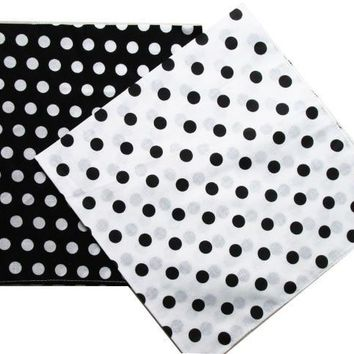 Free Shipping 2018 New Fashion Cotton Black White Polka Dot Bandanas Headwear/Hair Band Scarf For Women/Mens Girl /Boys Kids