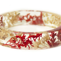 Classy Red and Tan Flower Bracelet