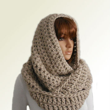 OVERSIZED INFINITY Scarf Knit Crochet Long Huge Hooded Infinity Scarf Cowl Chunky Loop UniSex Infiniti Scarf Women Mens Beige Linen Wool