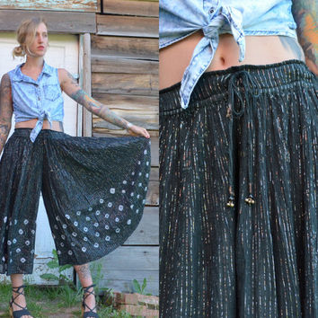 80s Palazzo Silver Threaded Tie Dye Sheer Indian Cotton Gaucho Bell Bottom Pants