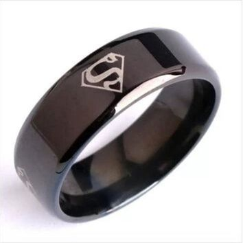 DCCKIX3 Men's 8mm wide black superman superman titanium steel Men's Rings = 1946298628