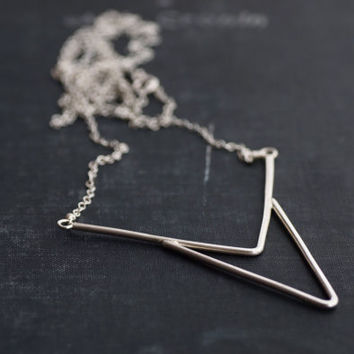 Large Sterling Arrow Pendant - Chain Necklace