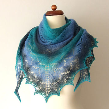 lace prayer shawl, green, blue, teal, knit from hand-dyed Estonian wool