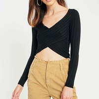 Urban Outfitters Cropped Twist-Front Ribbed Long Sleeve T-Shirt | Urban Outfitters