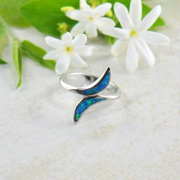 Ocean Waves Blue Fire Opal Sterling Silver Ring