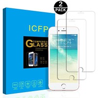 iPhone 6 Tempered Glass Screen Protector 2 Pack, 2.5D Edge, 9H Hardness, Crystal Clear, No Bubbles, 3D Touch Compatible, ICFPWR Screen Protector for Apple iPhone 6