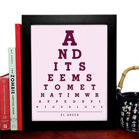 Al Green, And It Seems To Me That Im Wrapped Up In Your Love, Eye Chart, 8 x 10 Giclee Art Print, Buy 3 Get 1 Free
