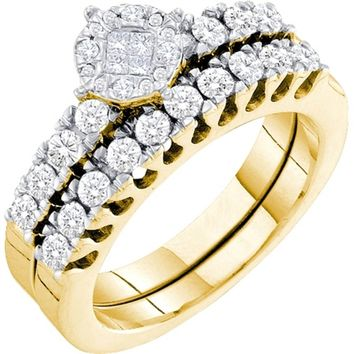 Designer 14k Yellow Gold Round & Princess Cut Diamond Bridal Ring Set 0.87CT
