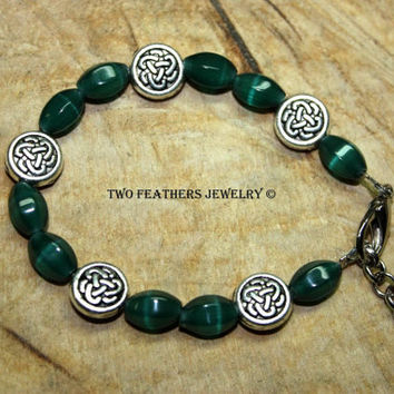 Celtic Knot Bracelet - Green Bracelet - Dark Green Glass Bracelet - Beaded Bracelet - Green And Silver - Glass And Metal - Gift For Her