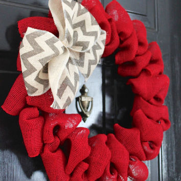 Burlap Wreaths for the Door, Burlap Wreath with Initial, Chevron Burlap Wreath, Wreath Front Door, Red Burlap Wreath, Front Door Wreath