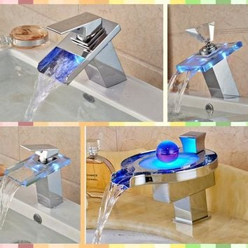 Wholesale And Retail Promotion Bathroom Sink Faucet LED Colors Mixer Tap Deck Mounted