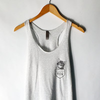 Funny Cat in Pocket Tank Top in Heather White