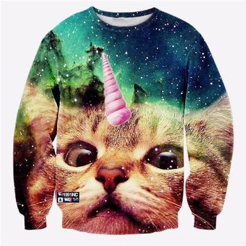 Unicorn Cat All-Over-Print Sweatshirt - Men's