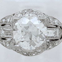 2.32ct Art Deco Round Diamond Engagement Ring  GIA certified Platinum Fine Jewelry Bridal Anniversary  JEWELFORME BLUE