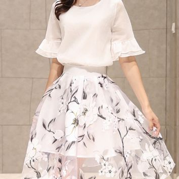 Streetstyle  Casual Round Neck Bell Sleeve Top And Hollow Out Floral Flared Skirt