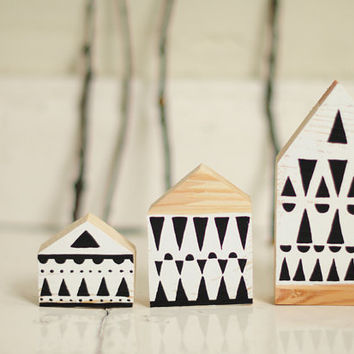 Hand painted wooden village, miniature village, hand painted house, wood block toy house, little wooden house, decorative miniature house