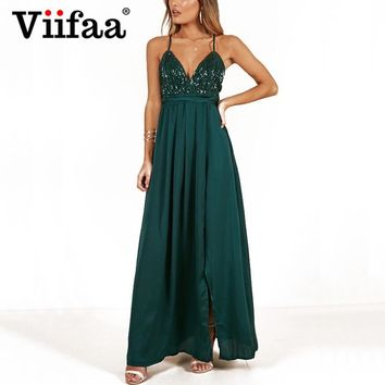Viifaa Green Sexy V Neck Party Women Long Dress Spaghetti Strap Backless Night Out Club Dresses Elegant Sequin Maxi Dress