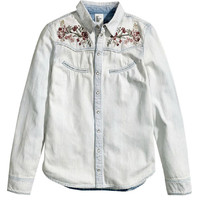 Floral Embroidery Long Sleeve Buttoned Washed Denim Shirt Top