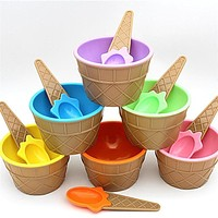 Hot Children's Plastic Ice Cream Bowls Spoons Set Durable ICE Cream CUP For KIds Couples Tubs Gifts Lovely Dessert Bowl 3jan19
