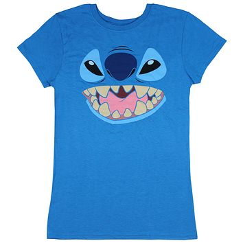 Disney Lilo And Stitch Juniors Stitch Face Character Graphic Licensed T-Shirt