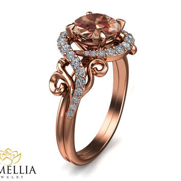Morganite Engagement Ring 14K Rose Gold Morganite Ring Nature Inspired Jewelry