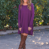 Ruffle Along The Bottom Dress - Plum