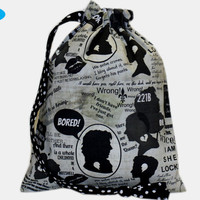 NEW Project Bag | Sherlock | Knitting Bag | Drawstring Pouch | Sock Knitting Project Bag