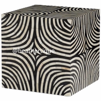 Bone Inlay Furniture - Zebra Print Bone Inlay Wood Block End Table | Free Shipping