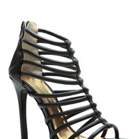 Modernly Chic Black Strappy Single Sole Heels