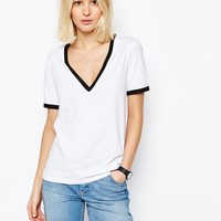 ASOS V Neck T-Shirt With Tipping at asos.com
