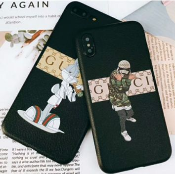 Gucci iPhone6 shell skid, light and light leather 7p protective cover, iPhoneX full package soft shell