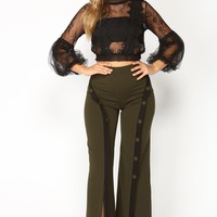 Angelina Button Trim Pants - Olive