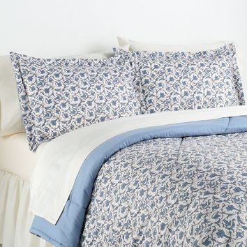 Jacobean Floral Micro Flannel 3-pc. Comforter Set - King (Blue)