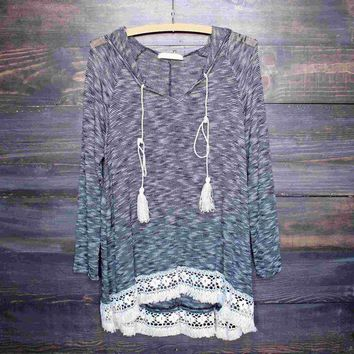 VONE05F grey two tone lightweight boho pull over sweater tunic hoodie with lace hem Day First
