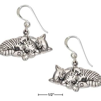 Sterling Silver Two Sleeping Kitty Cat Earrings On French Wires