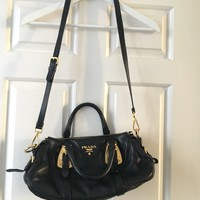 prada black leather bag, almost like new!