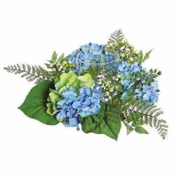 "16"" Decorative Artificial Blue and Green Hydrangea and Berry Hurricane Glass Candle Holder"