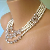 Pearl Necklace, Pearl Choker, Bridal Jewelry, Great Gatsby Jewelry, Pearl And Crystal Necklace, Bridal Pearls, Wedding Necklace, Art Deco