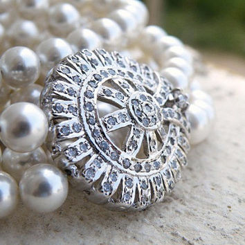 Bridal Necklace White Pearl CZ Double Strand Silver Brooch Necklace - Selena N3 Wedding Jewelry