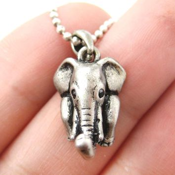 Elephant Realistic Animal Charm Necklace in Silver | Animal Jewelry