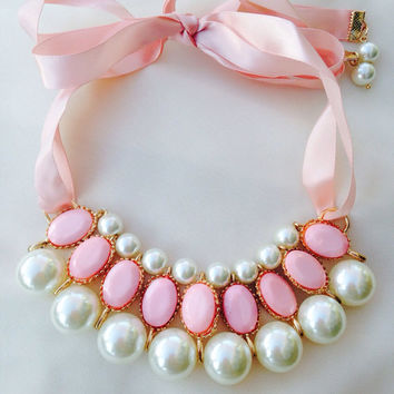 Sweetheart Blush Pink Pearl Choker Necklace by SoVintageCouture